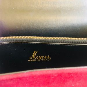 Meyers Bags - Vtg 60's Meyers Bamboo Handle Purse Maroon Velvet